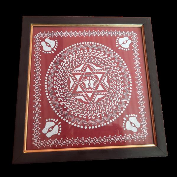 Lakshmi Charan, Laksmi, Luxmi, Laxmi, Vastu, pooja, painting, aipan, kumaon, red, hills, fabric painted, cotton cloth