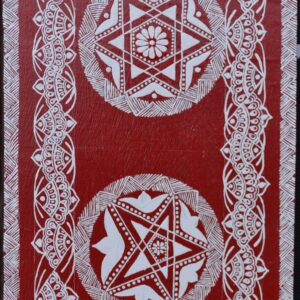 Nakshatra Taarak, universe, stars, cosmos, L, Luxmi, Laxmi, Vastu, pooja, painting, aipan, kumaon, red, hills, fabric painted, cotton cloth
